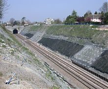 Slope stabilisation works to rail cutting