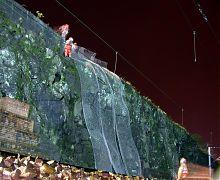 Hanging rock netting on rail cutting - Scotland