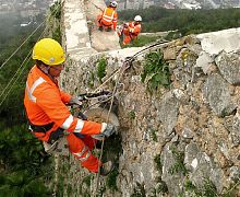 Lime mortar re-pointing of 16th century wall - Gibraltar