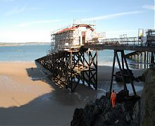 View of lifeboat station under renovation