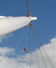 Abseil technicians accessing bridge prior to rigging of washing line
